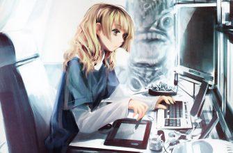 Anime girl with computer